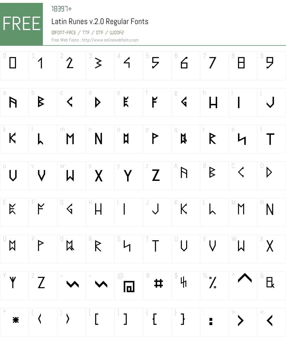 Latin Runes v.2.0 Font Screenshots