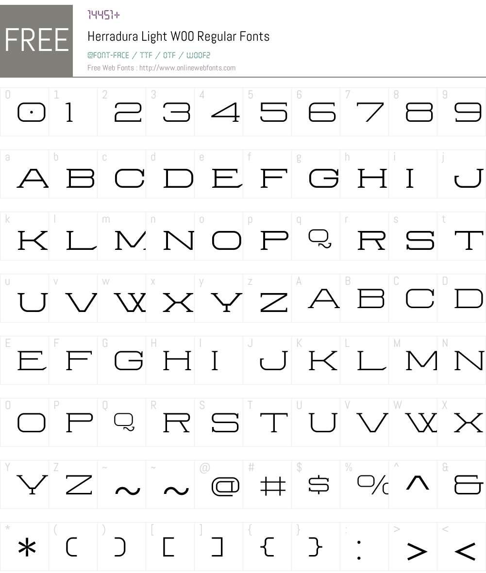 HerraduraLightW00-Regular Font Screenshots