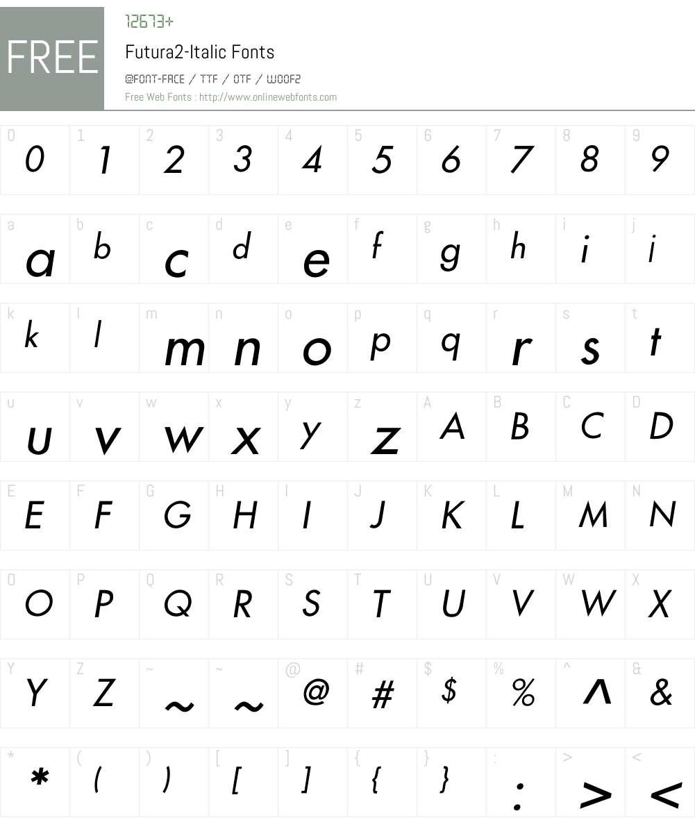 Futura2-Italic Font Screenshots
