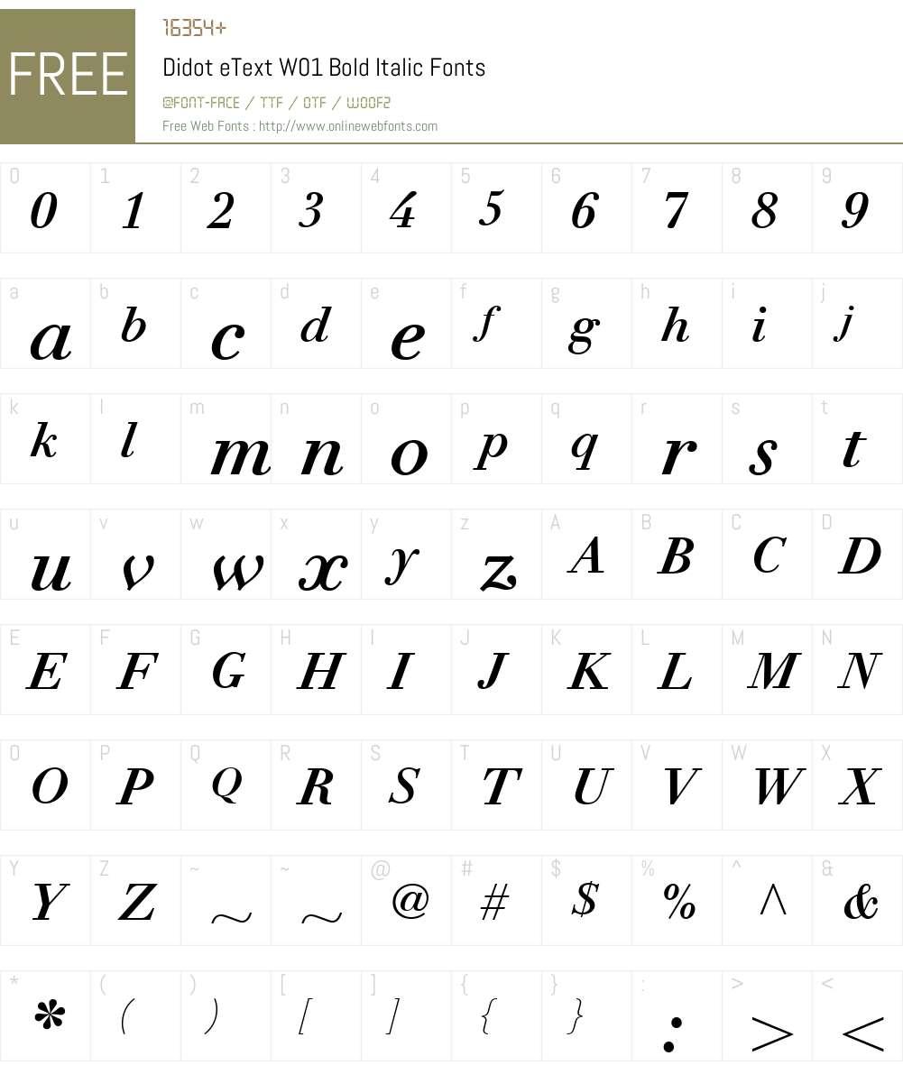 DidoteTextW01-BoldItalic Font Screenshots