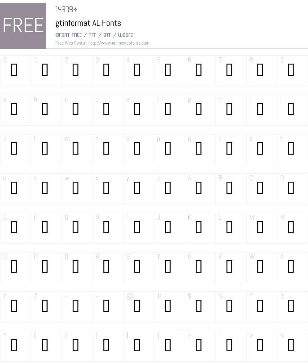 gtinformat AL Font Screenshots