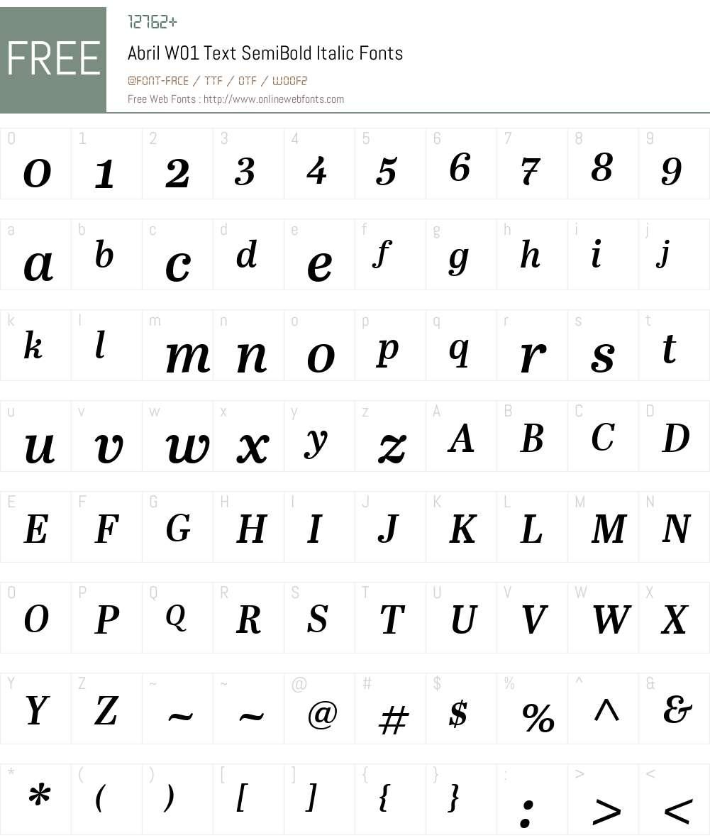 AbrilW01-TextSemiBoldItalic Font Screenshots