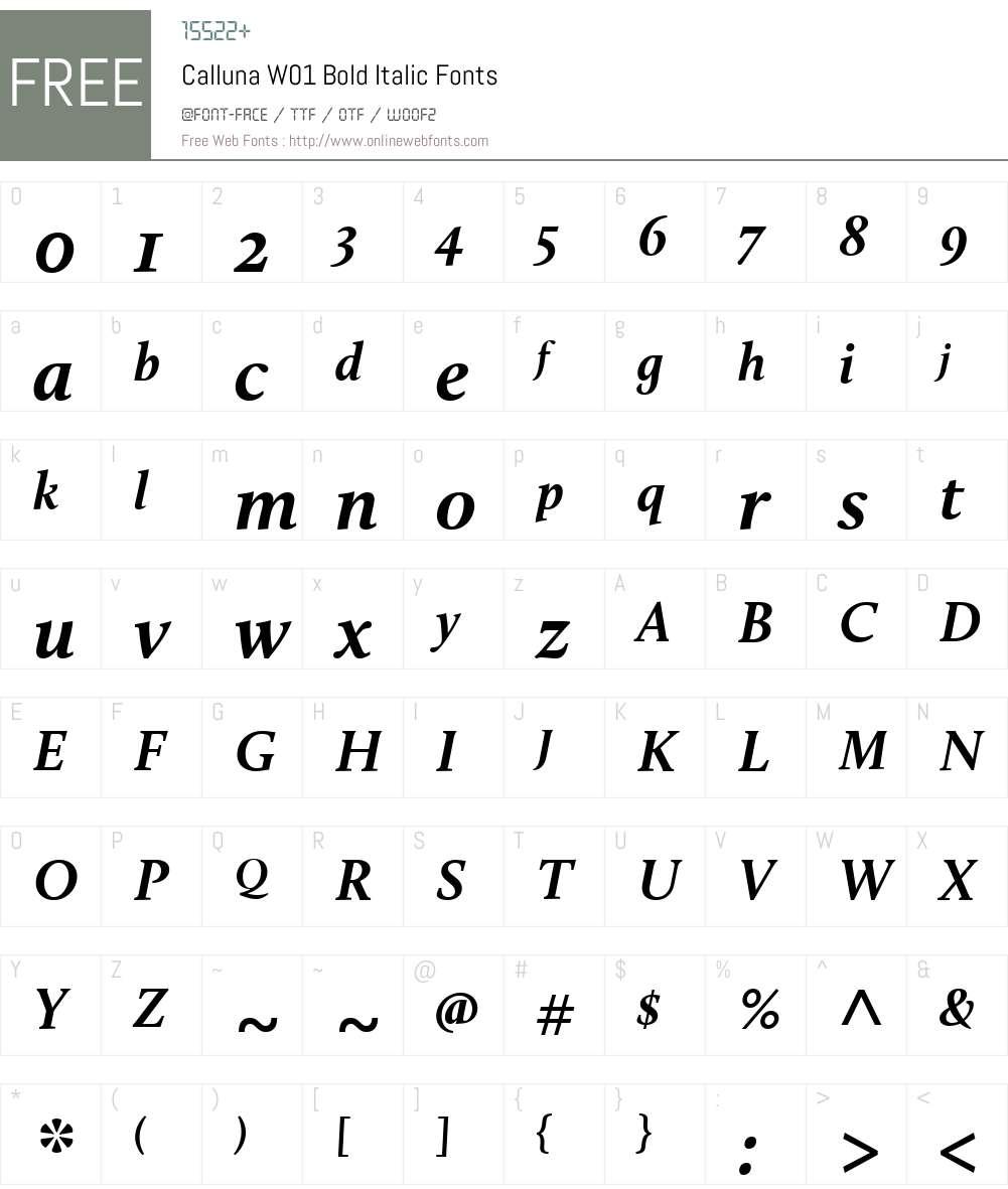 CallunaW01-BoldItalic Font Screenshots