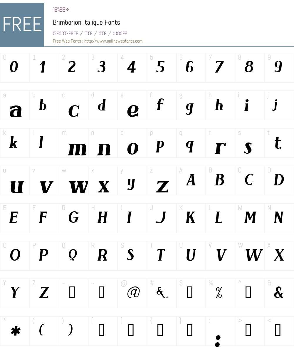 Brimborion Font Screenshots