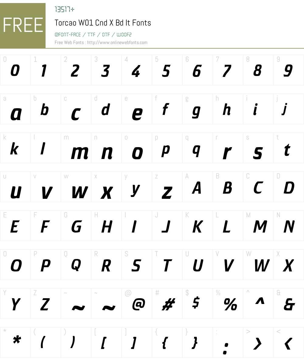 TorcaoW01-CndXBdIt Font Screenshots