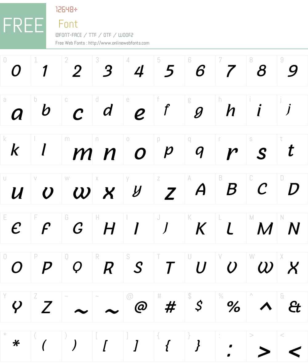 Sovba Medium Oblique Font Screenshots