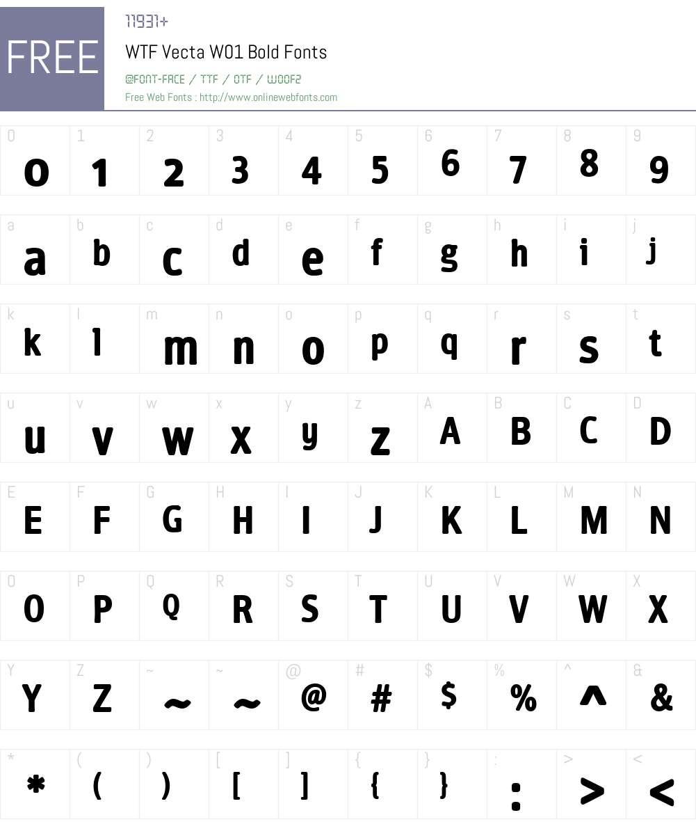 WTFVectaW01-Bold Font Screenshots