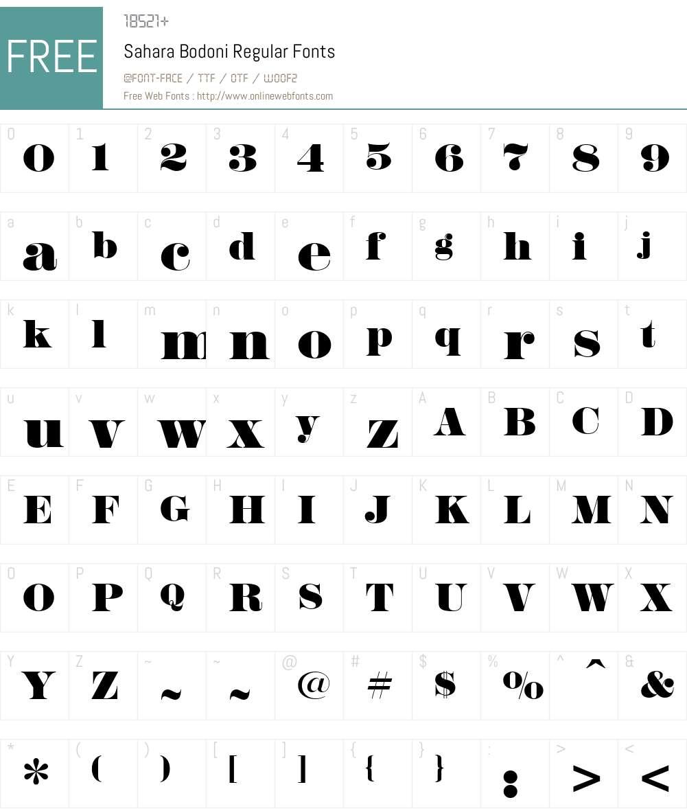 Sahara Bodoni Font Screenshots