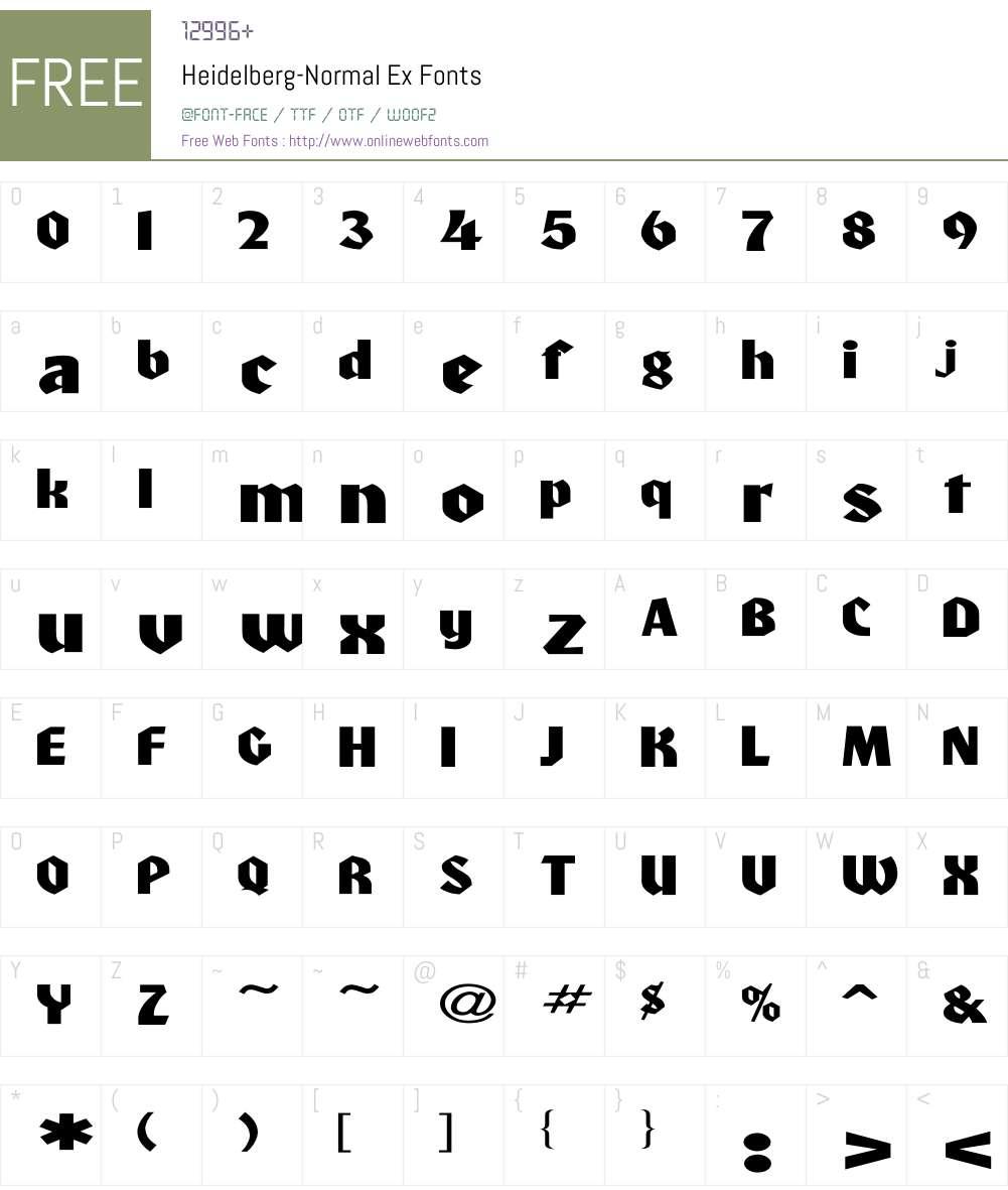 Heidelberg-Normal Ex Font Screenshots