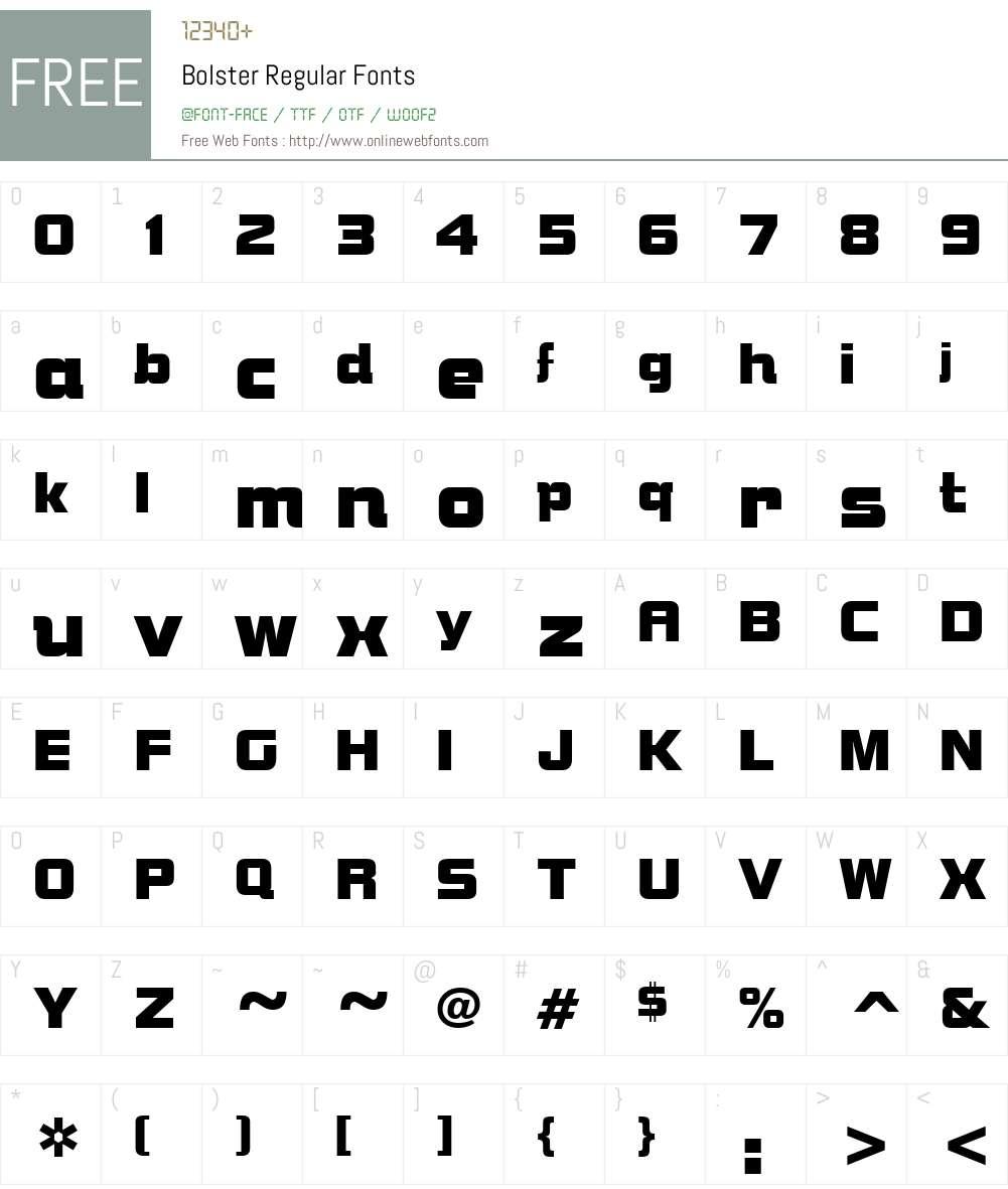 Bolster Font Screenshots