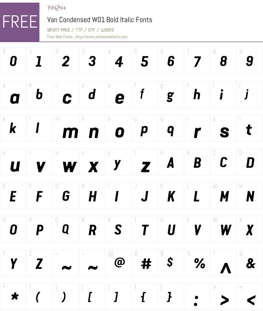 VanCondensedW01-BoldItalic Font Screenshots