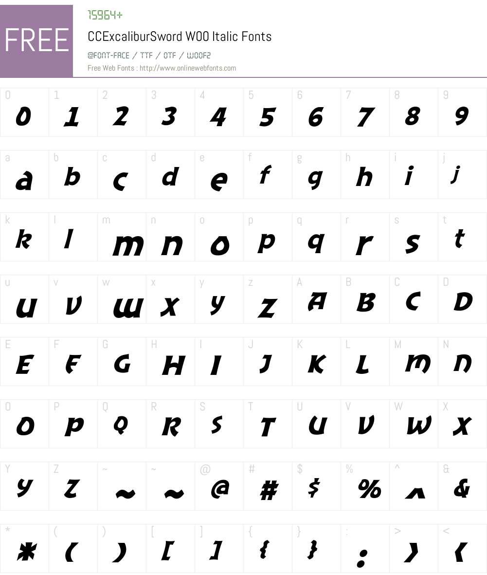 CCExcaliburSwordW00-Italic Font Screenshots