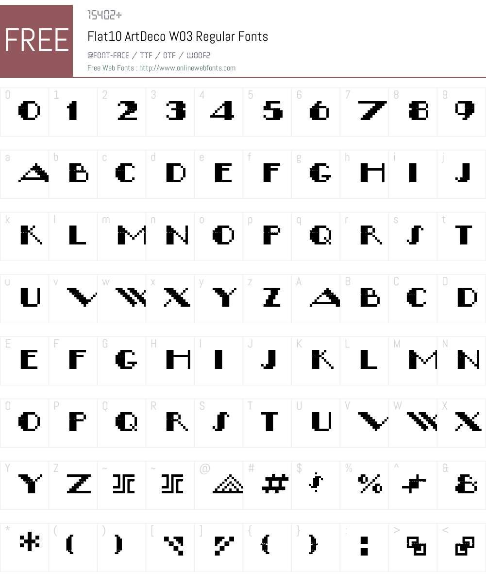 Flat10ArtDecoW03-Regular Font Screenshots