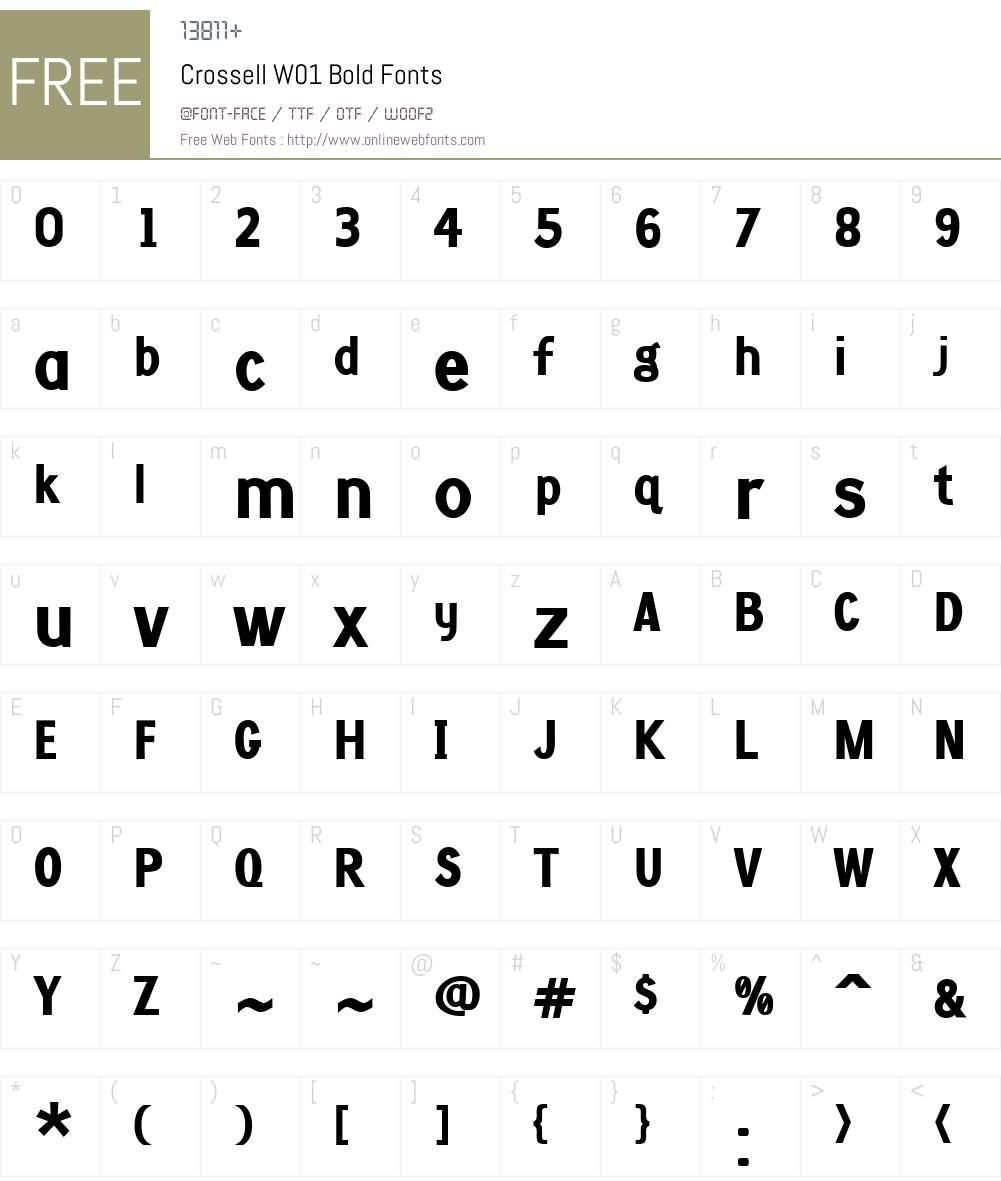CrossellW01-Bold Font Screenshots