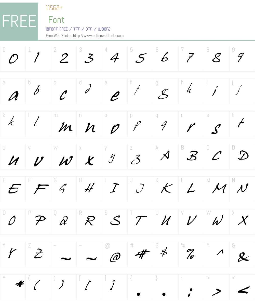 HansHand Font Screenshots