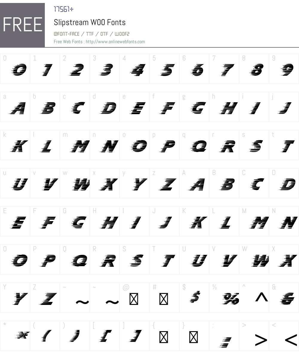 SlipstreamW00 Font Screenshots