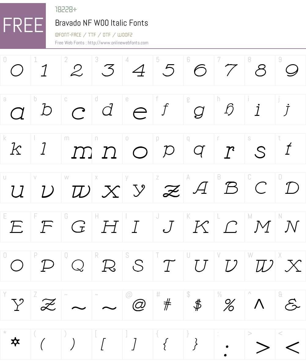 BravadoNFW00-Italic Font Screenshots