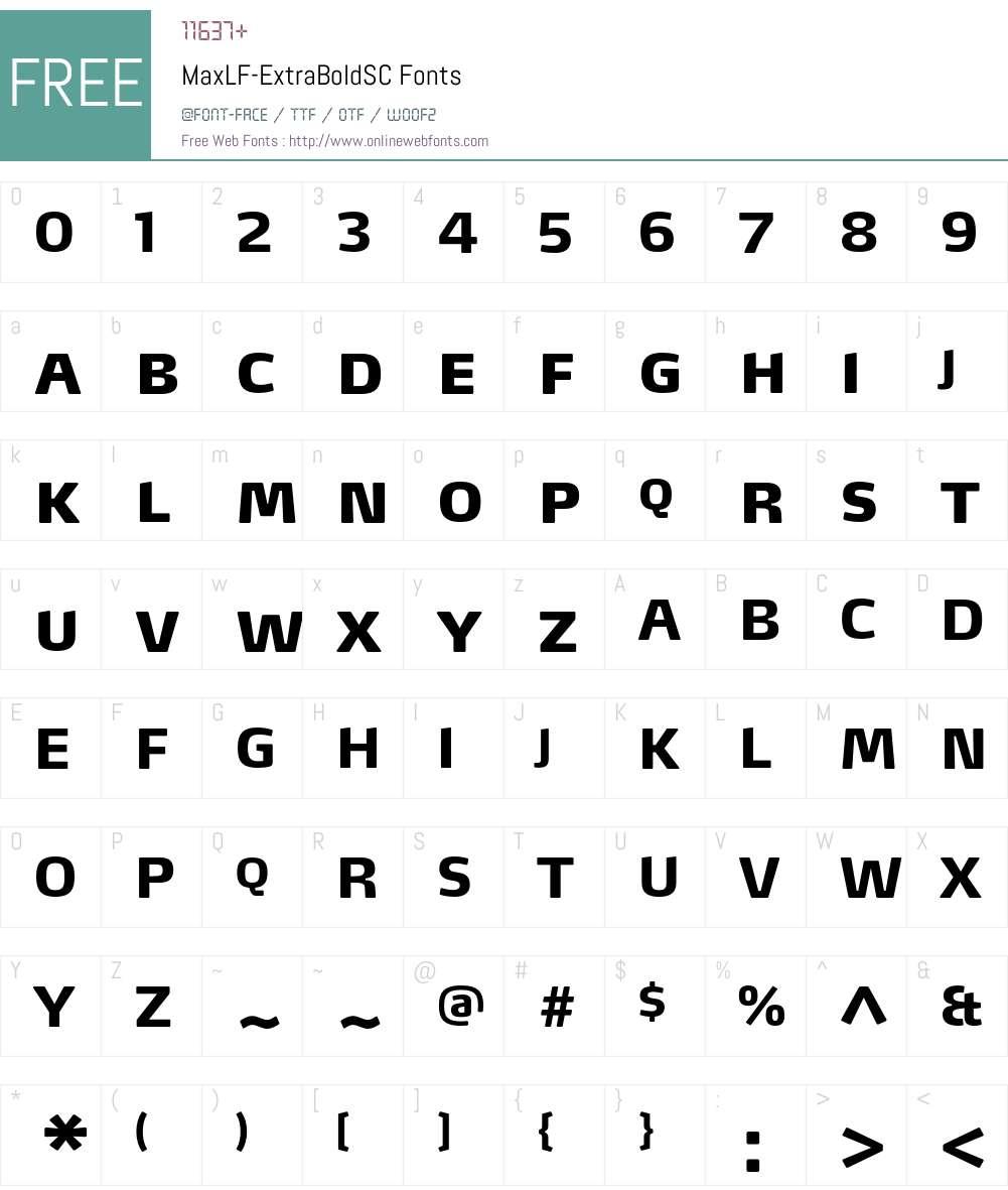 MaxLF-ExtraBoldSC Font Screenshots