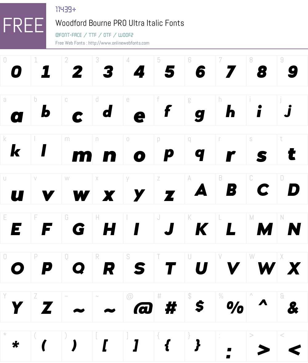 WoodfordBournePRO-UltraItalic Font Screenshots