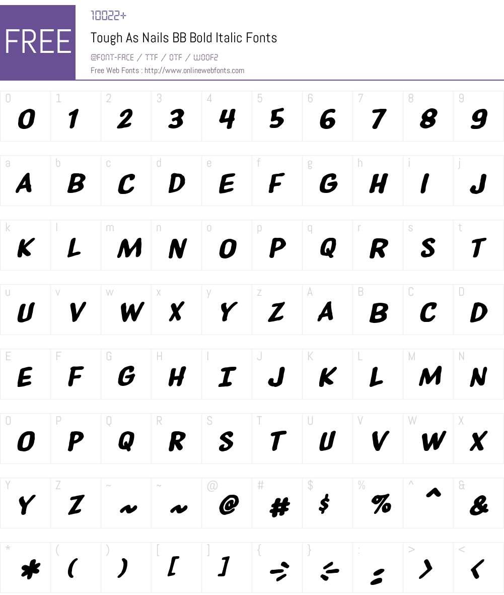 ToughAsNailsBB-BoldItalic Font Screenshots