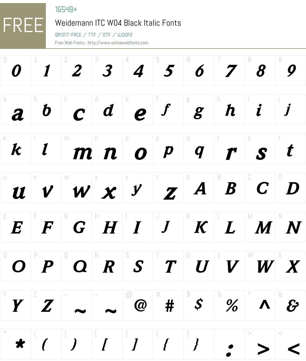 ITC Weidemann Font Screenshots