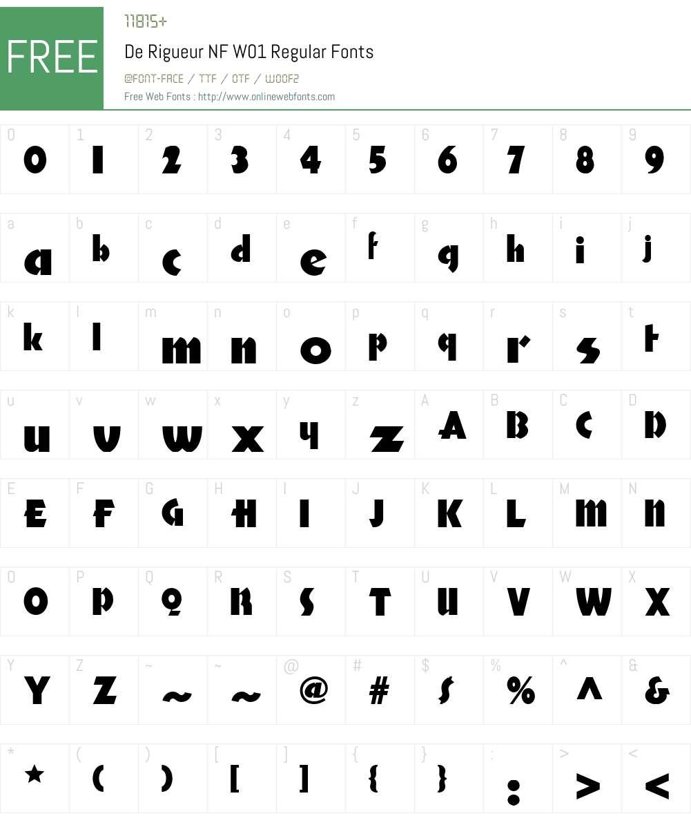 DeRigueurNFW01-Regular Font Screenshots
