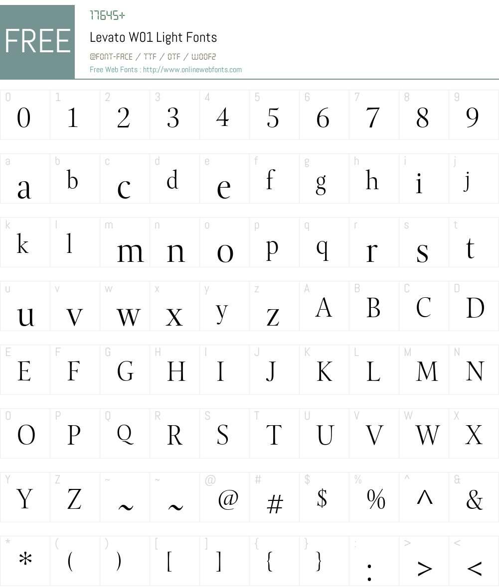 LevatoW01-Light Font Screenshots