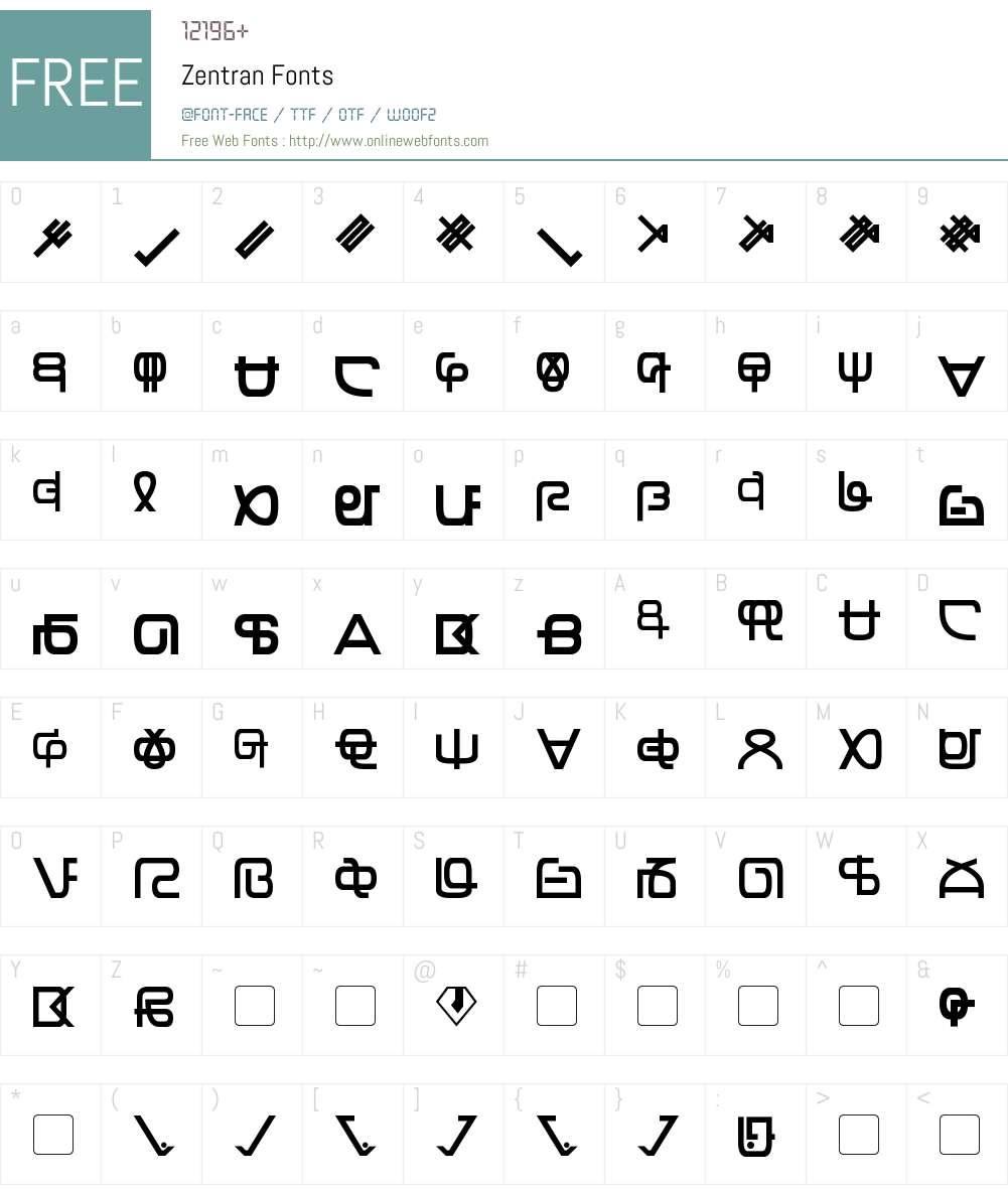 Zentran Font Screenshots