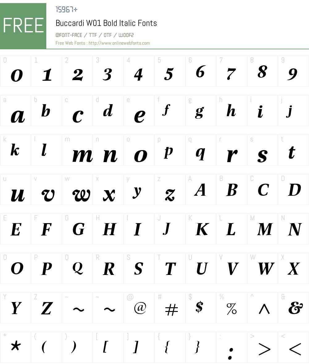 BuccardiW01-BoldItalic Font Screenshots