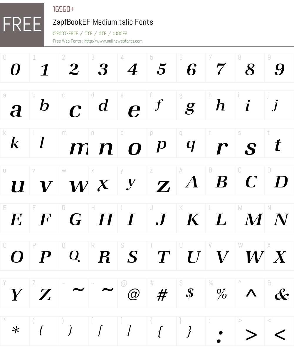 ZapfBookEF-MediumItalic Font Screenshots