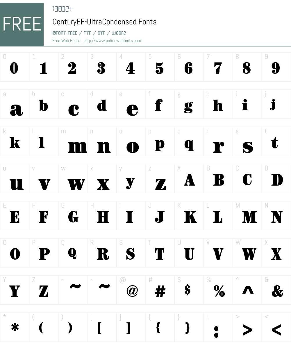 CenturyEF-UltraCondensed Font Screenshots