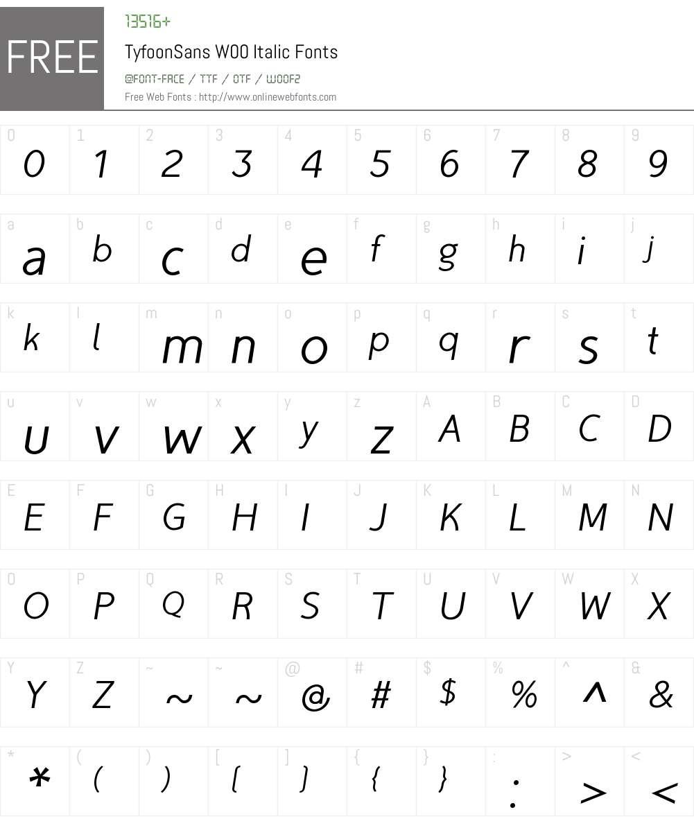 TyfoonSansW00-Italic Font Screenshots