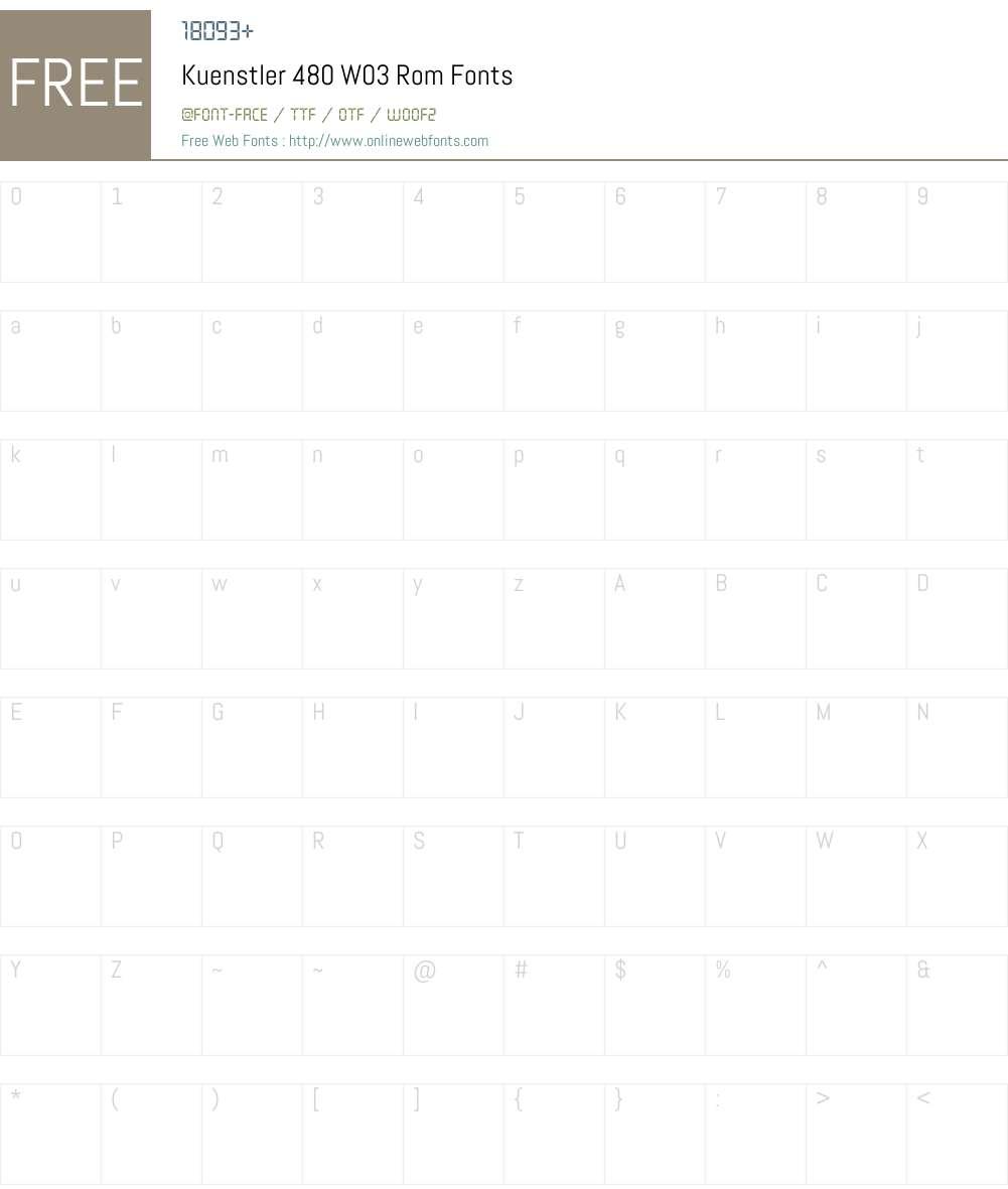 Kuenstler 480 Font Screenshots