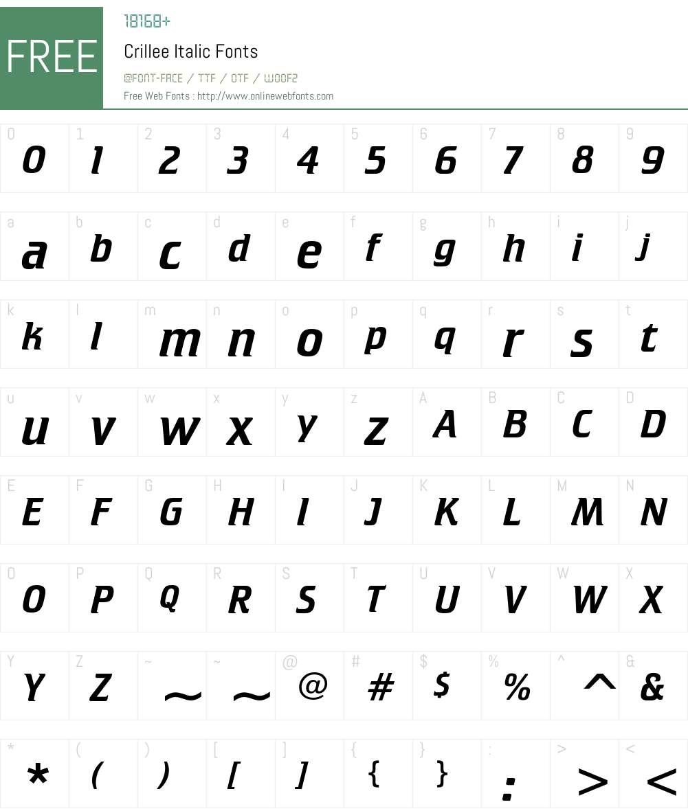 Crillee Font Screenshots