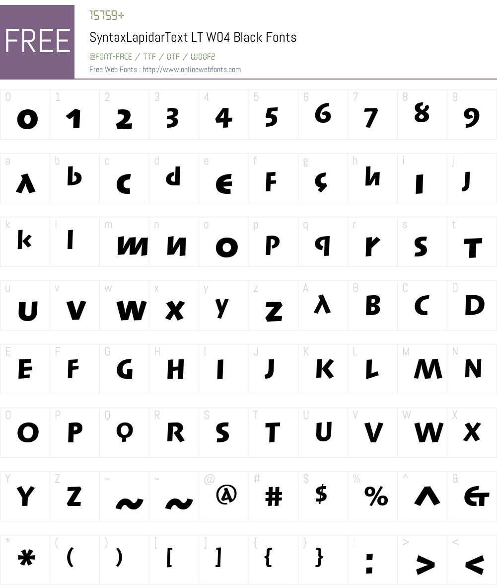 Linotype Syntax Lapidar Text Font Screenshots