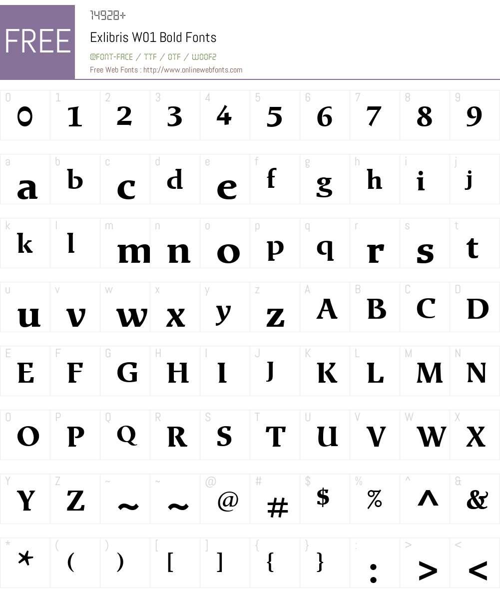 ExlibrisW01-Bold Font Screenshots