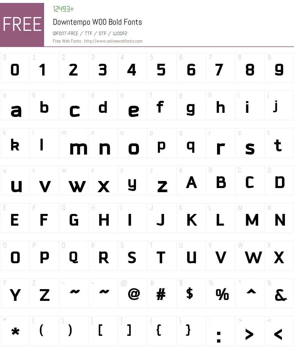 DowntempoW00-Bold Font Screenshots