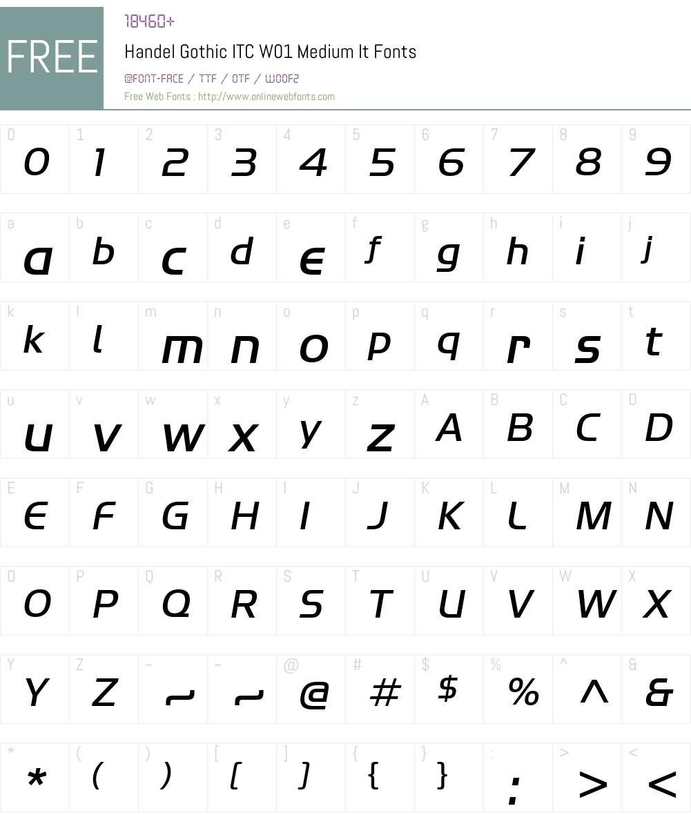 HandelGothicITCW01-MediumIt Font Screenshots