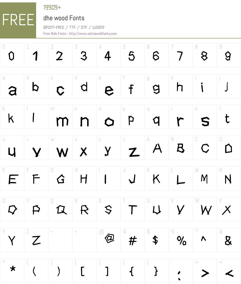 dhe wood Font Screenshots