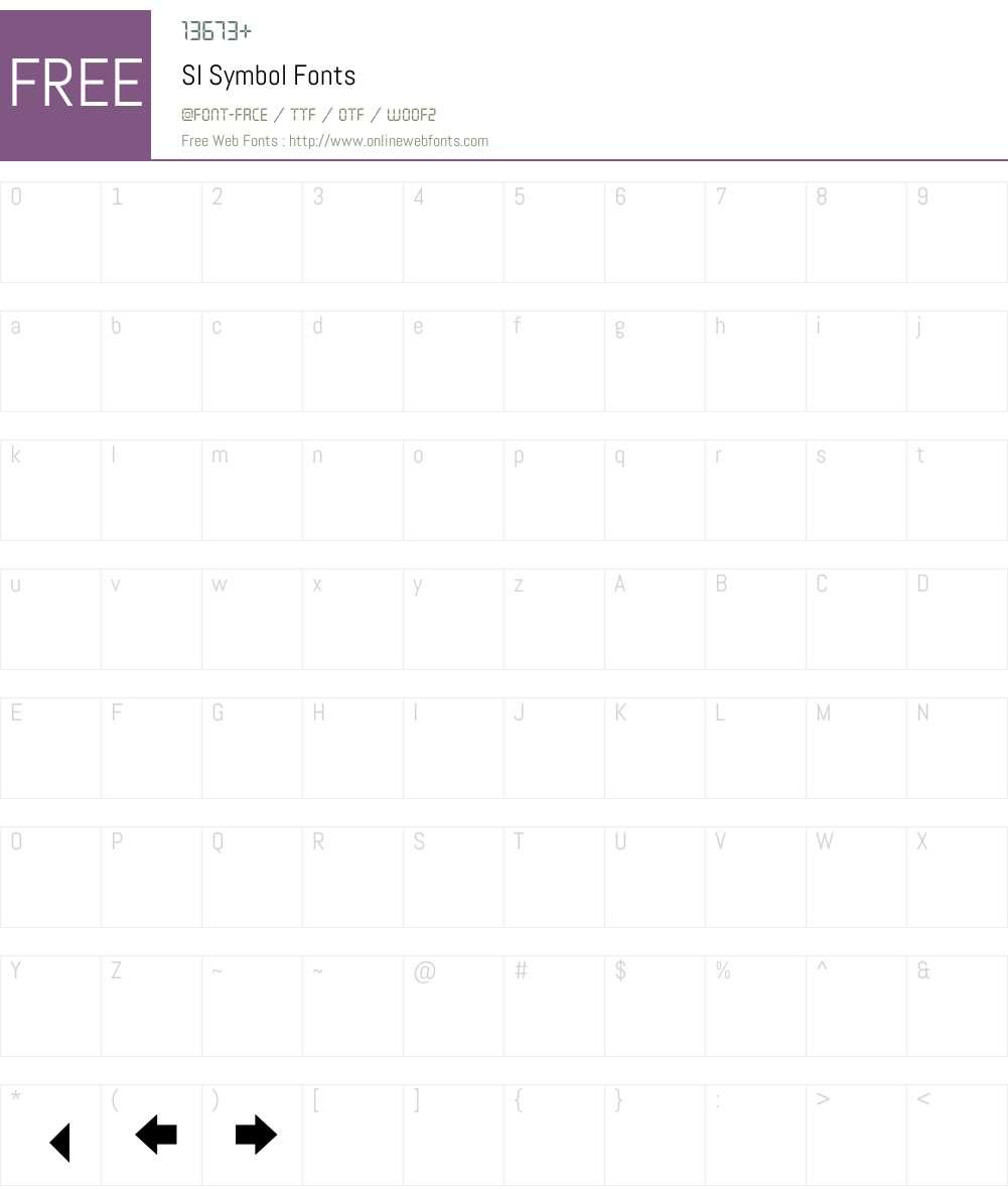 SI Symbol Font Screenshots
