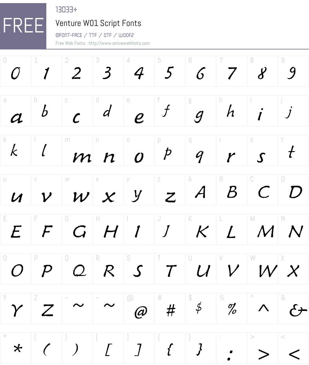 VentureW01-Script Font Screenshots