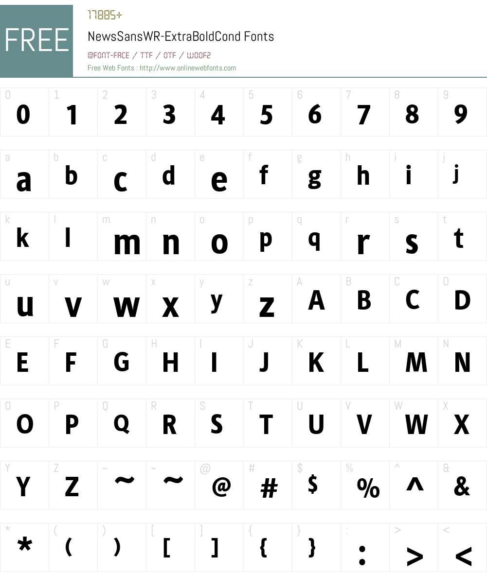 NewsSansWR-ExtraBoldCond Font Screenshots