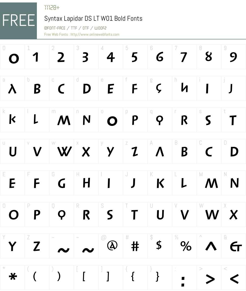 SyntaxLapidarDSLTW01-Bold Font Screenshots