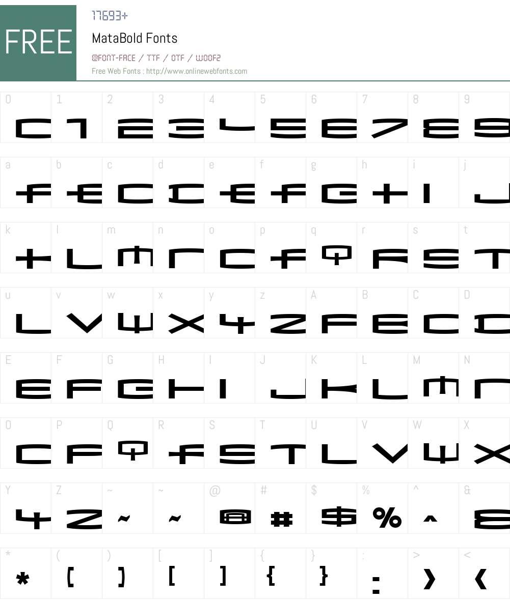 MataBold Font Screenshots