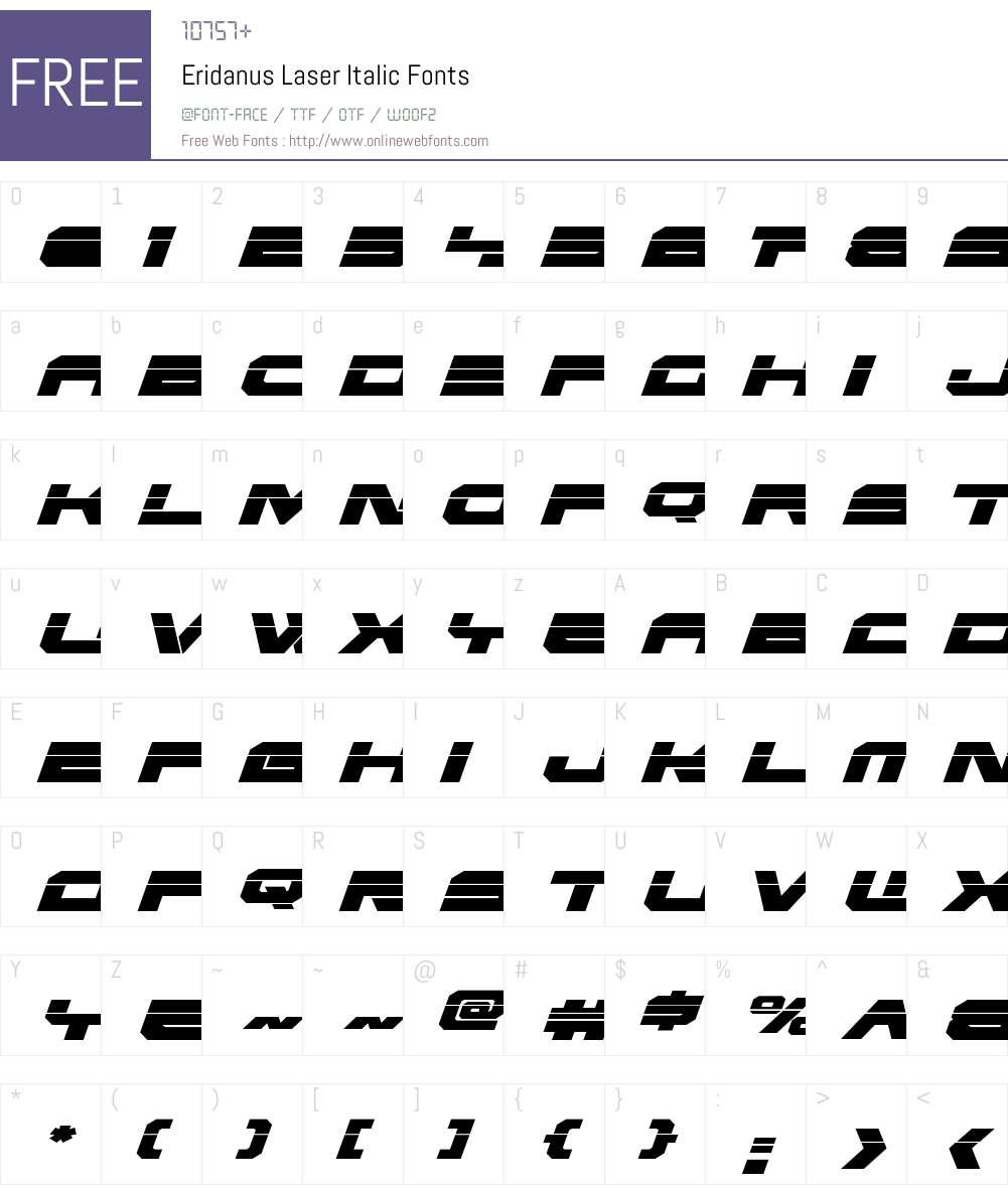 Eridanus Laser Italic Font Screenshots