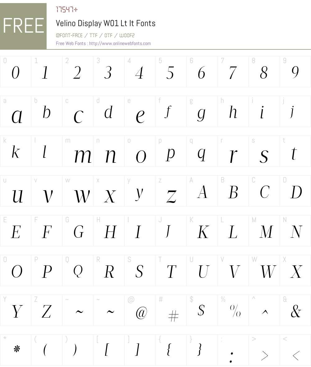VelinoDisplayW01-LtIt Font Screenshots