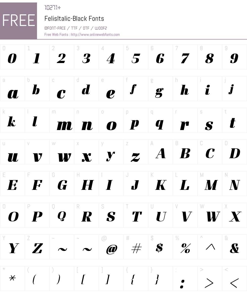 FelisItalic Font Screenshots