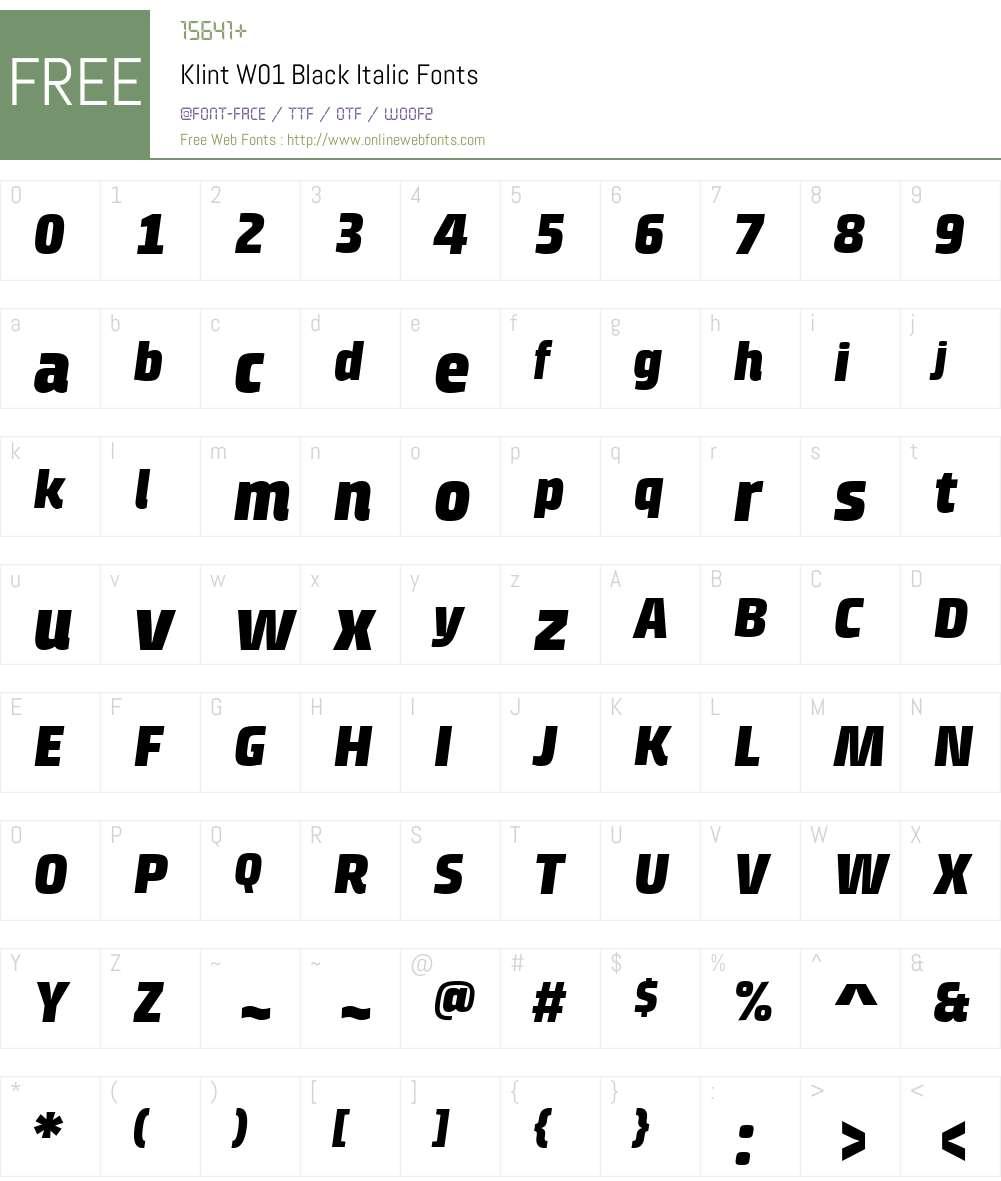 KlintW01-BlackItalic Font Screenshots