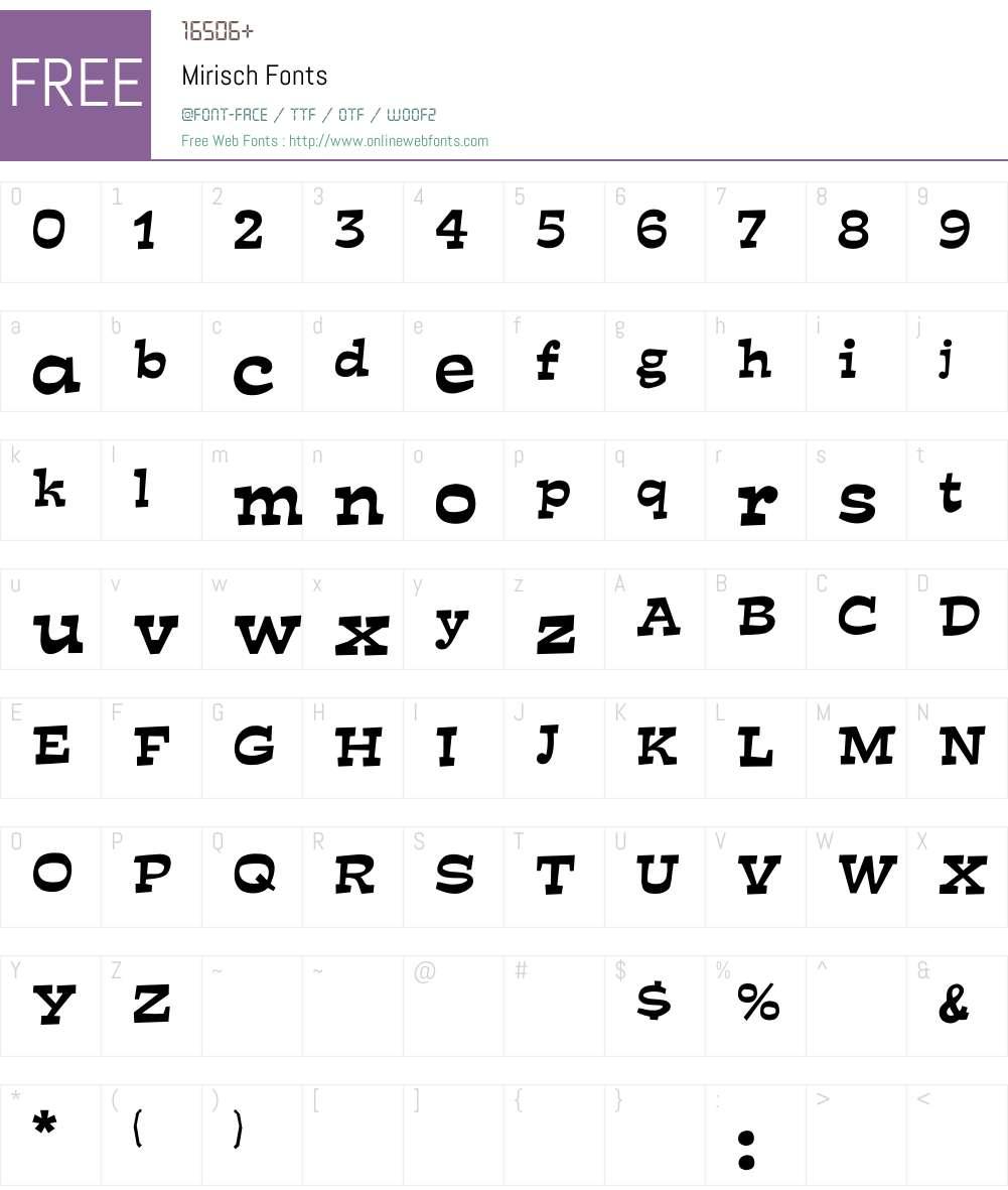 Mirisch Font Screenshots