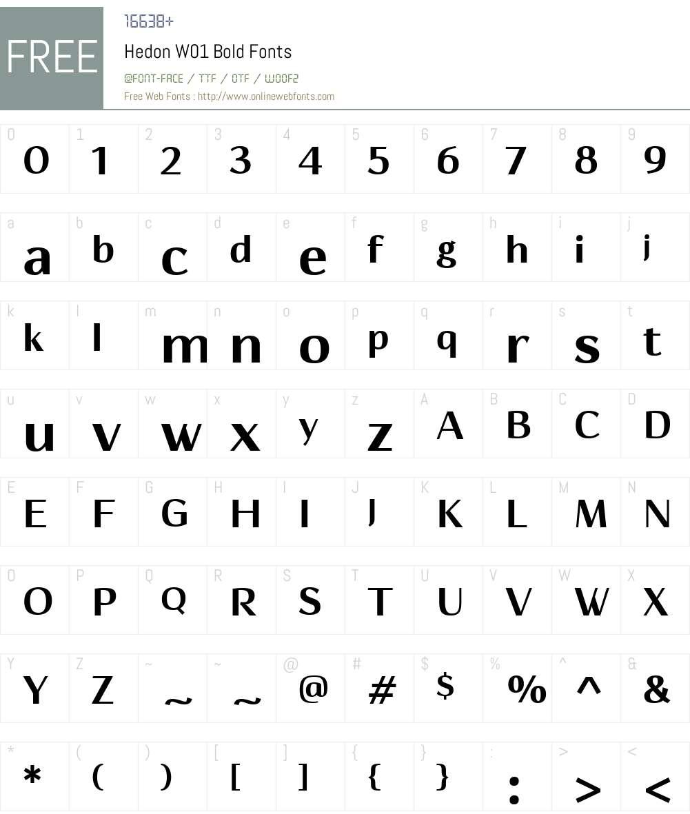 HedonW01-Bold Font Screenshots